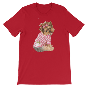 "Jerry's Apparel Pet Tees Red / S ""Yorkie T-shirt with bow"" Unisex T-Shirt"