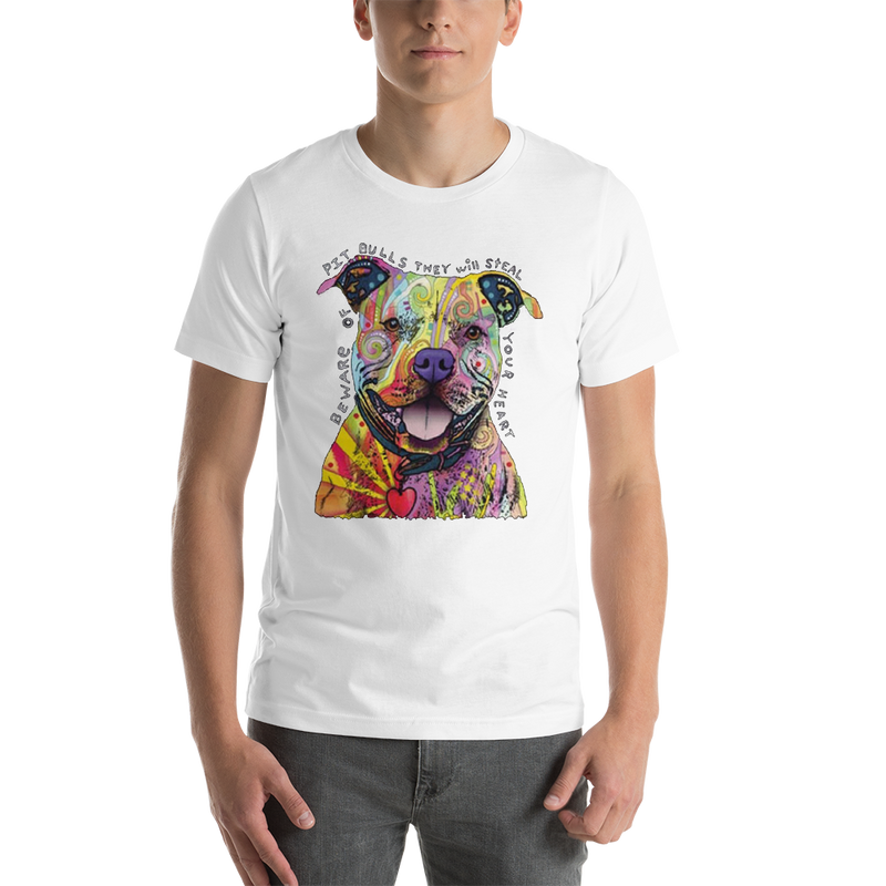 Jerry's Apparel Pet Tees White / S Beware of The Pitbull T shirt Unisex Jersey Short Sleeve