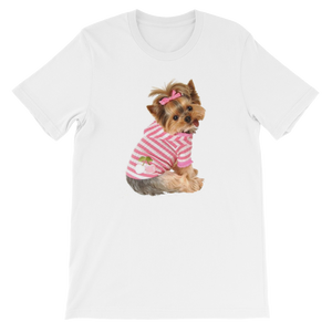 "Jerry's Apparel Pet Tees White / S ""Yorkie T-shirt with bow"" Unisex T-Shirt"