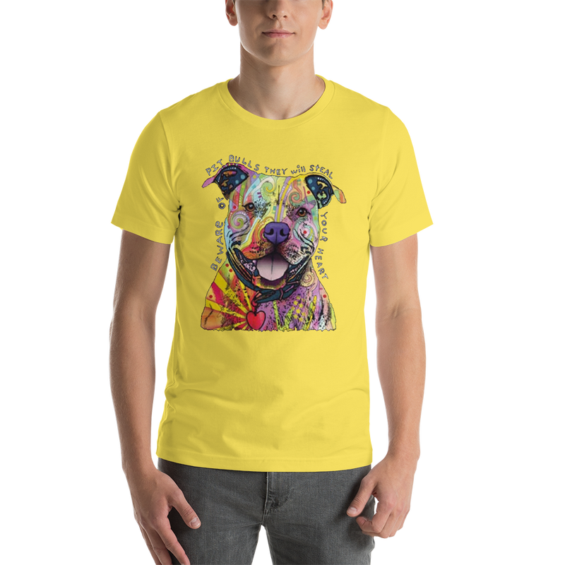 Jerry's Apparel Pet Tees Yellow / S Beware of The Pitbull T shirt Unisex Jersey Short Sleeve