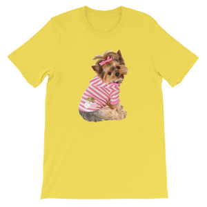 "Jerry's Apparel Pet Tees Yellow / S ""Yorkie T-shirt with bow"" Unisex T-Shirt"
