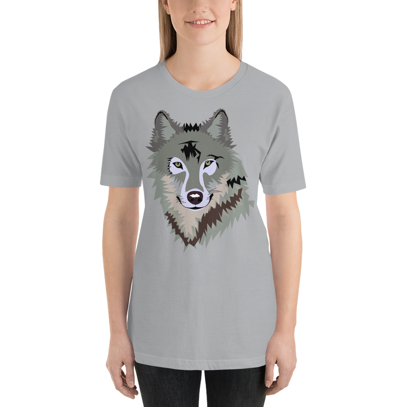 Jerry's Apparel Silver / S Short-Sleeve Unisex Wolf T-Shirt