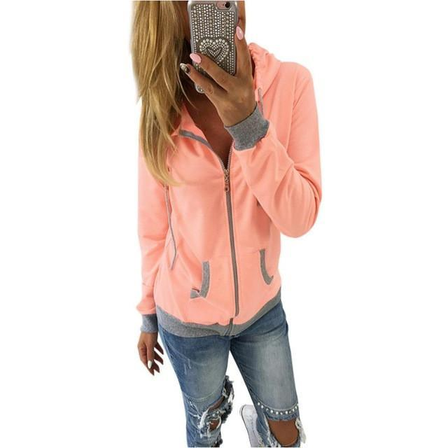 Jerry's Apparel Women Hoodies Orange / L Women Zipper Hooded Sweatshirt