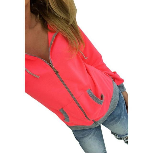 Jerry's Apparel Women Hoodies Pink / L Women Zipper Hooded Sweatshirt