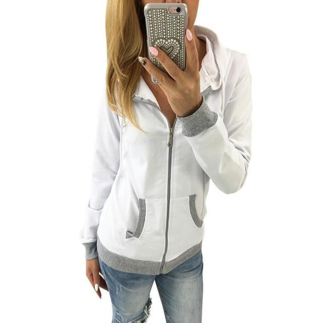 Jerry's Apparel Women Hoodies White / L Women Zipper Hooded Sweatshirt