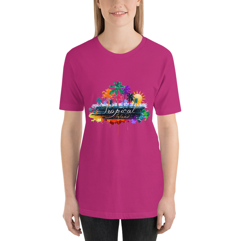 Jerry's Apparel Women T-Shirts Berry / S Tropical Island T-shirt