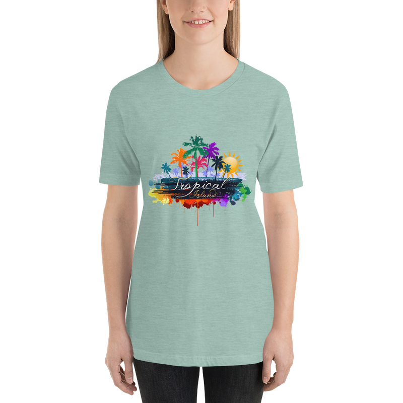Jerry's Apparel Women T-Shirts Heather Prism Dusty Blue / S Tropical Island T-shirt