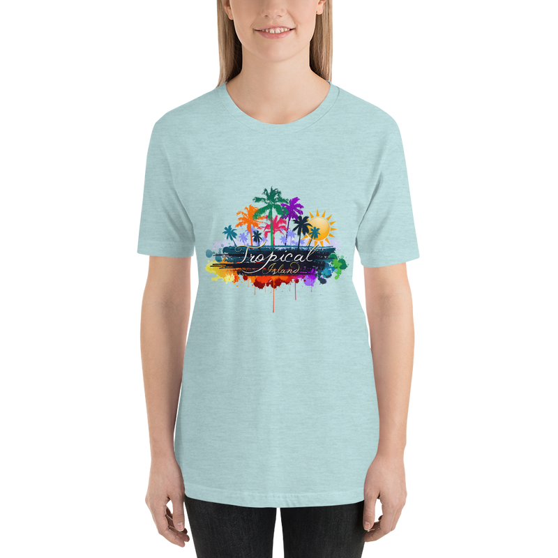 Jerry's Apparel Women T-Shirts Heather Prism Ice Blue / S Tropical Island T-shirt