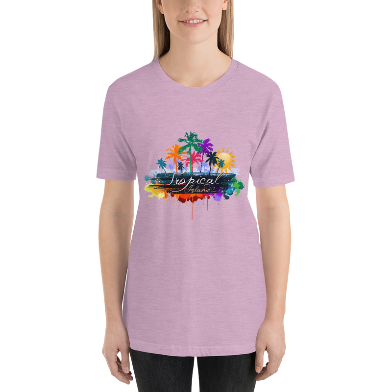 Jerry's Apparel Women T-Shirts Heather Prism Lilac / S Tropical Island T-shirt