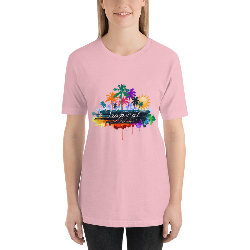 Jerry's Apparel Women T-Shirts Pink / S Tropical Island T-shirt