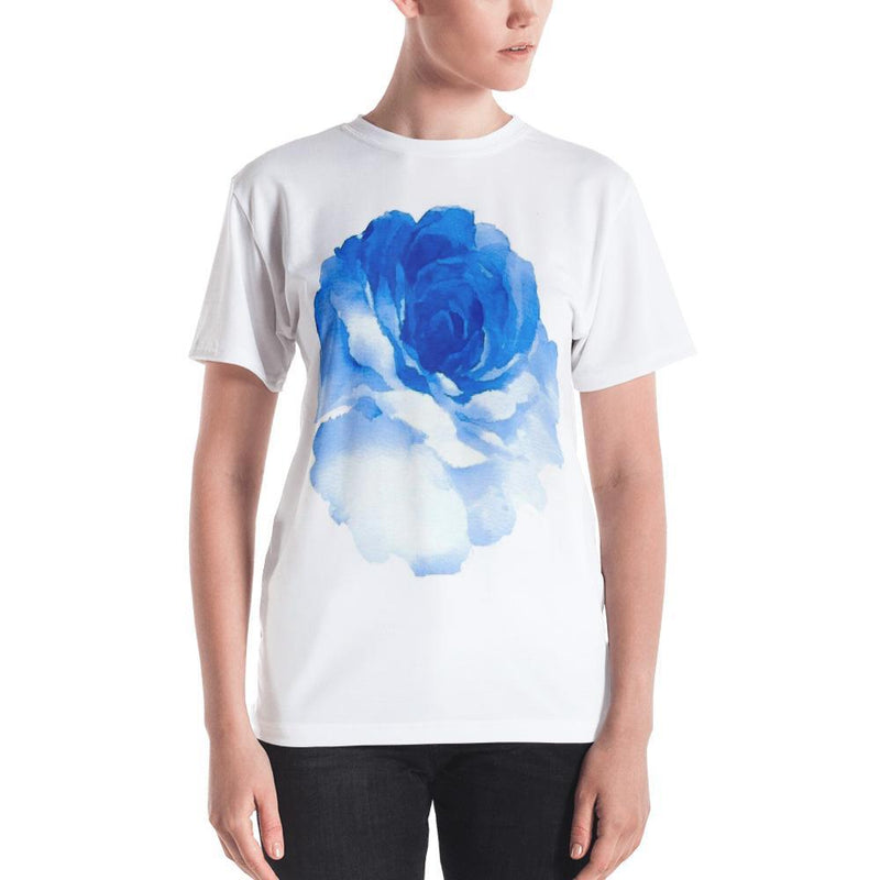 Jerry's Apparel Women T-Shirts XS Women's T-shirt Blue Rose