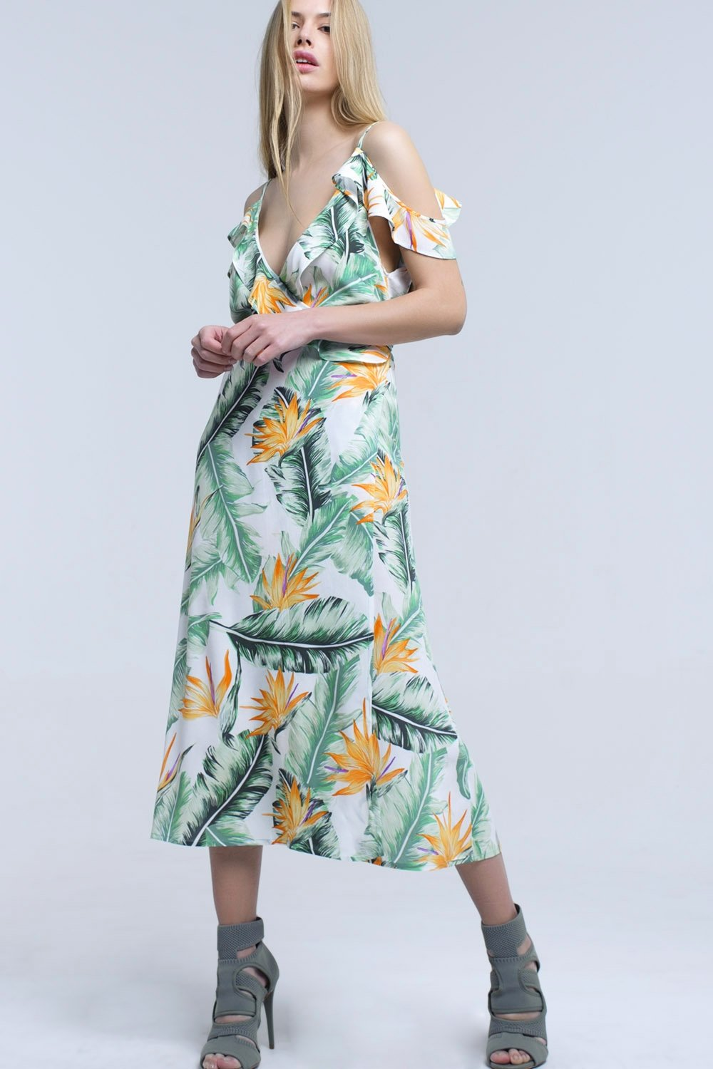 Q2 Women Casual Dresses White Midi Dress in Tropical Leaves