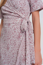 Q2 Women Casual Dresses Wrap Midi Dress in Pink Floral Print