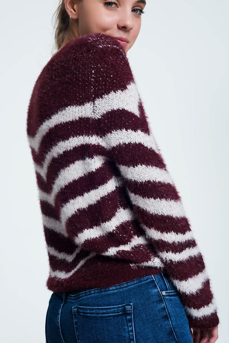 Q2 Women Sweaters Fluffy Stripe Sweater in Maroon