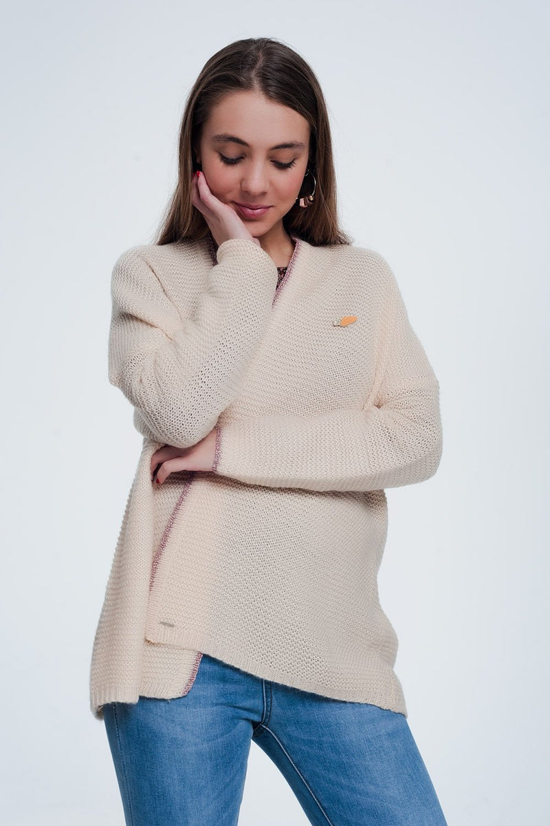 Q2 Women Sweaters Pink Cardigan With Shiny Details and Pin