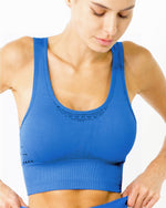 Savoy Active Fitness Clothing Bras Mesh Seamless Bra With Cutouts - Blue