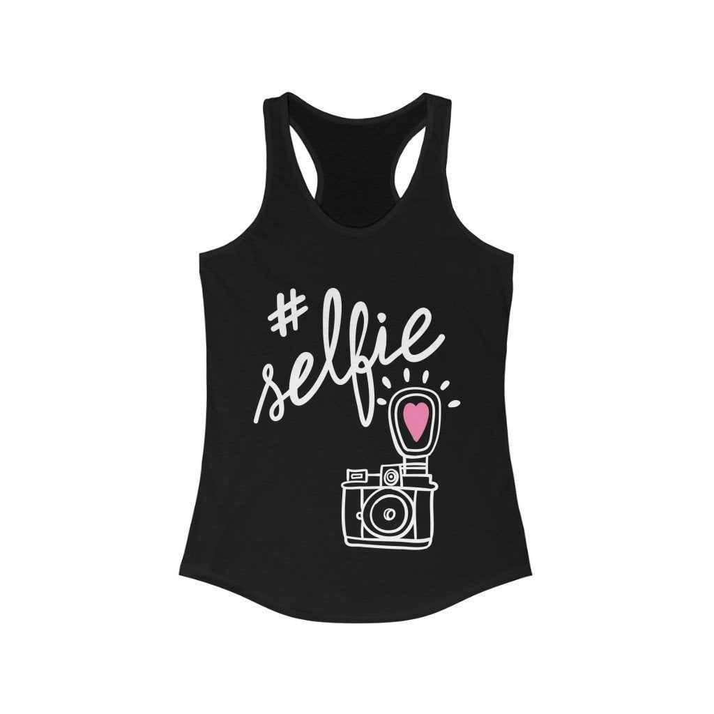 Sunday Tshirt Women Sportswear Solid Black / L #Selfie With Hand-Drawing Camera Racerback Tank Top