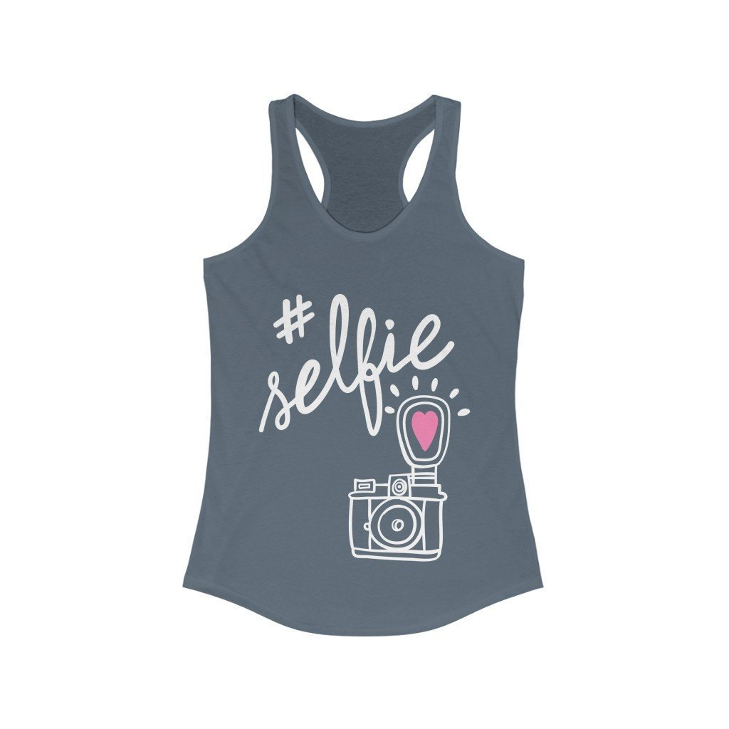 Sunday Tshirt Women Sportswear Solid Indigo / XS #Selfie With Hand-Drawing Camera Racerback Tank Top