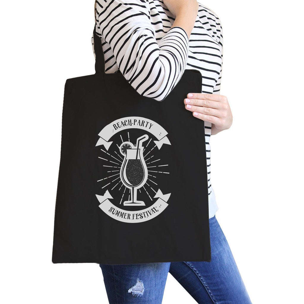 TSF Design Women's Totes Bags Beach Party Summer Festival Black Canvas Bags