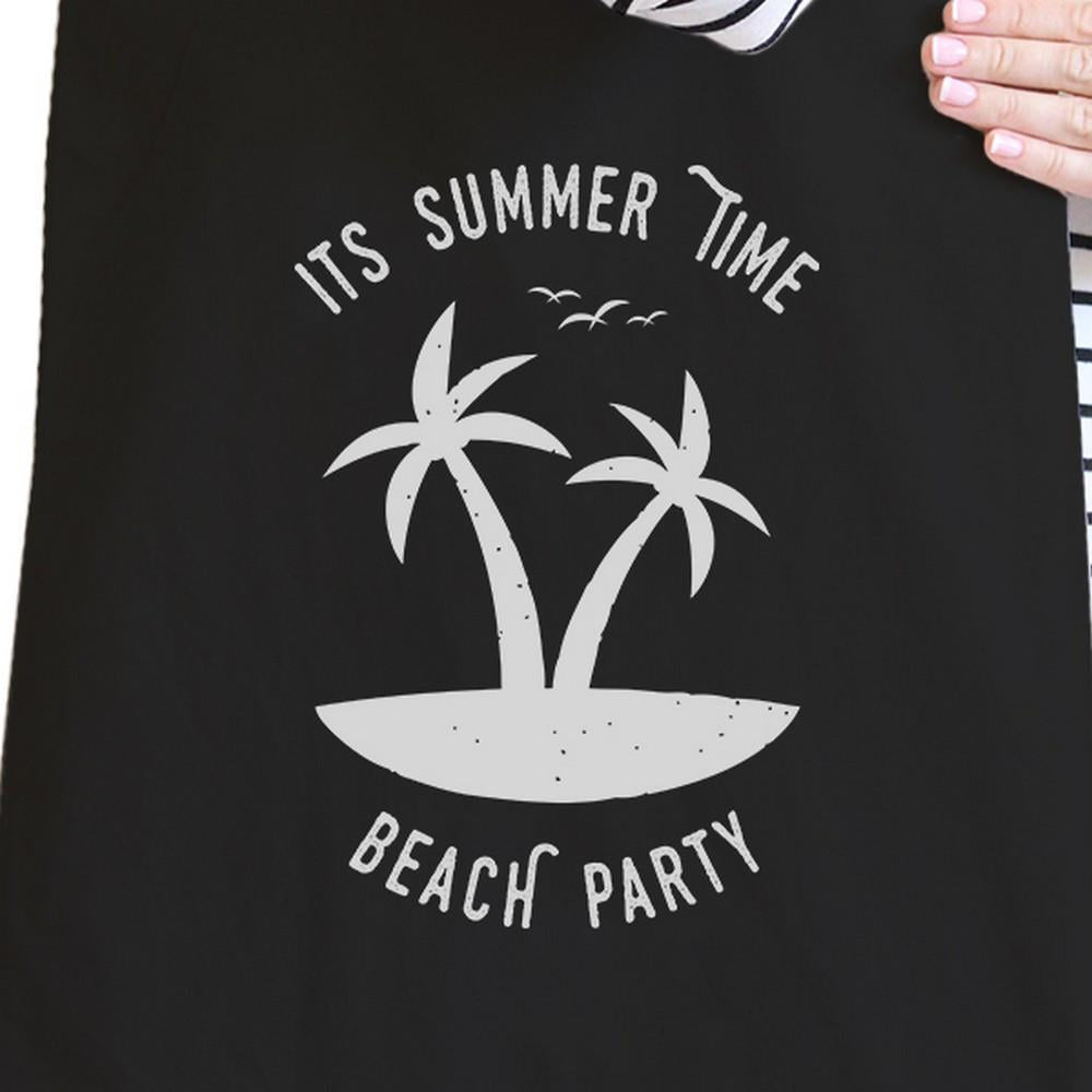 TSF Design Women's Totes Bags It's Summer Time Beach Party Black Canvas Bags