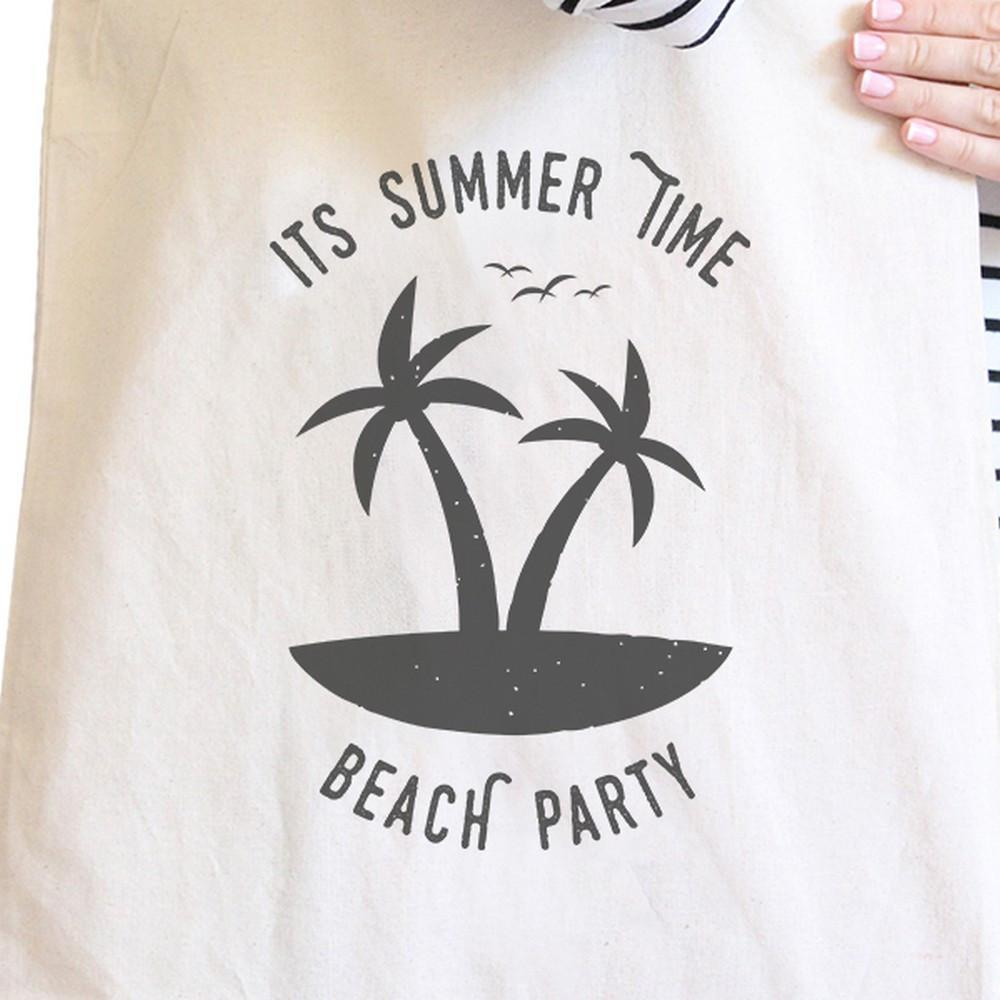 TSF Design Women's Totes Bags It's Summer Time Beach Party Natural Canvas Bags