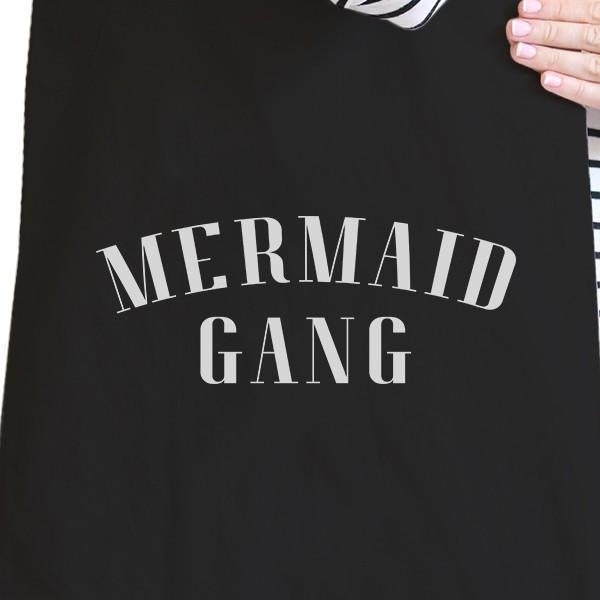 Mermaid Gang Black Summer Quote Canvas Beach Tote Gifts for Her