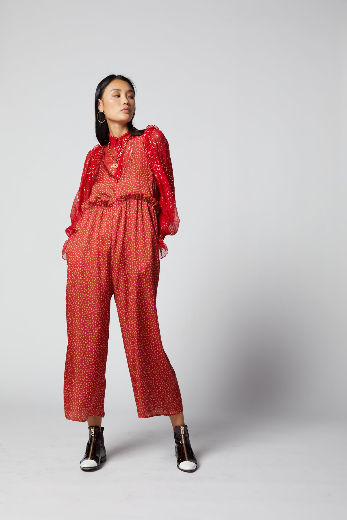 Lottie jumpsuit in Messy Dots print