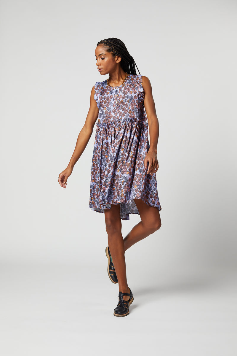 Kaya dress in Lilac Leaf print