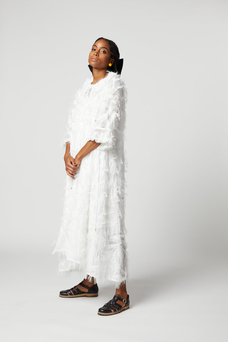 Scarlett dress in white feather