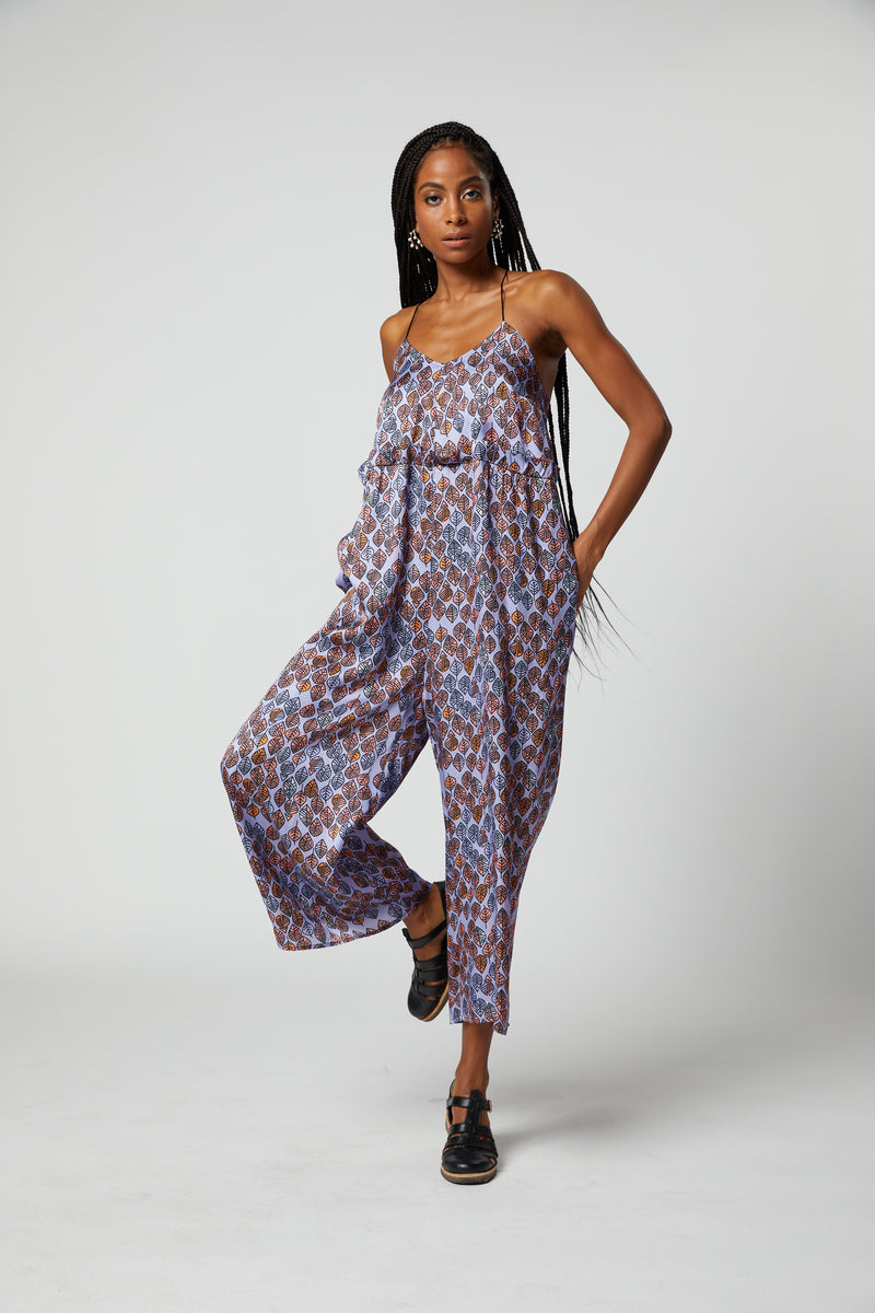 Lottie jumpsuit in lilac Leaf print