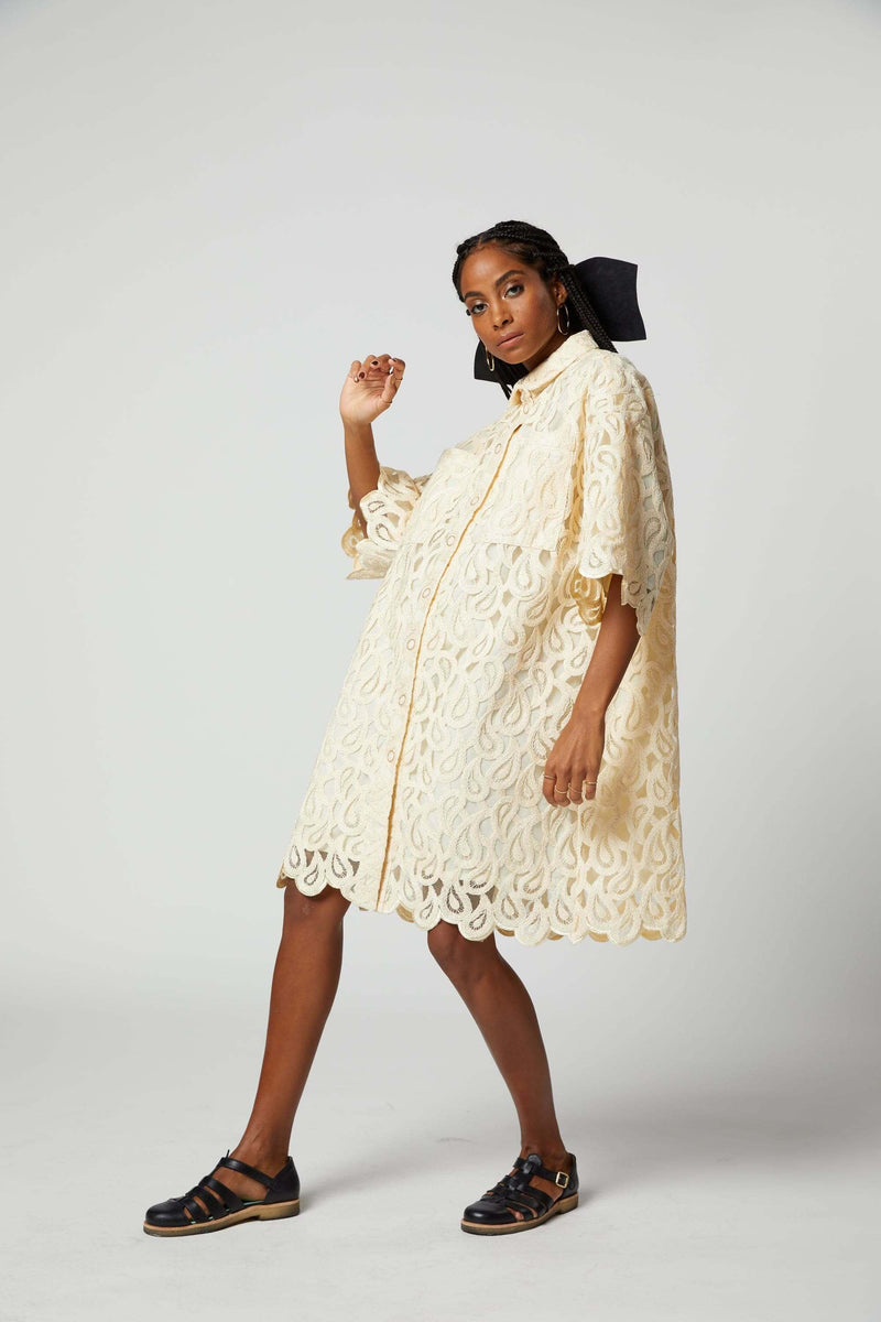 Astrée dress in paisley lace