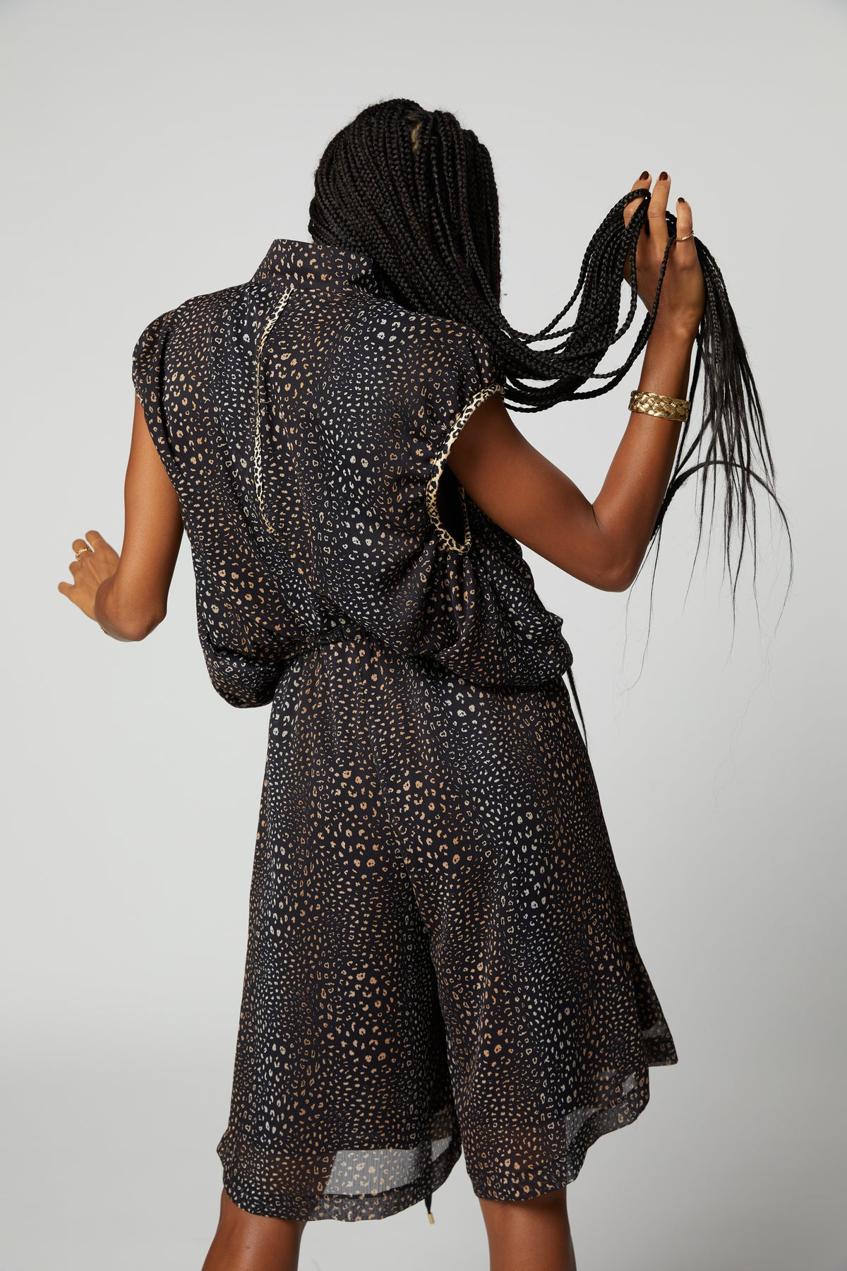 Goa jumpsuit in black leopard print