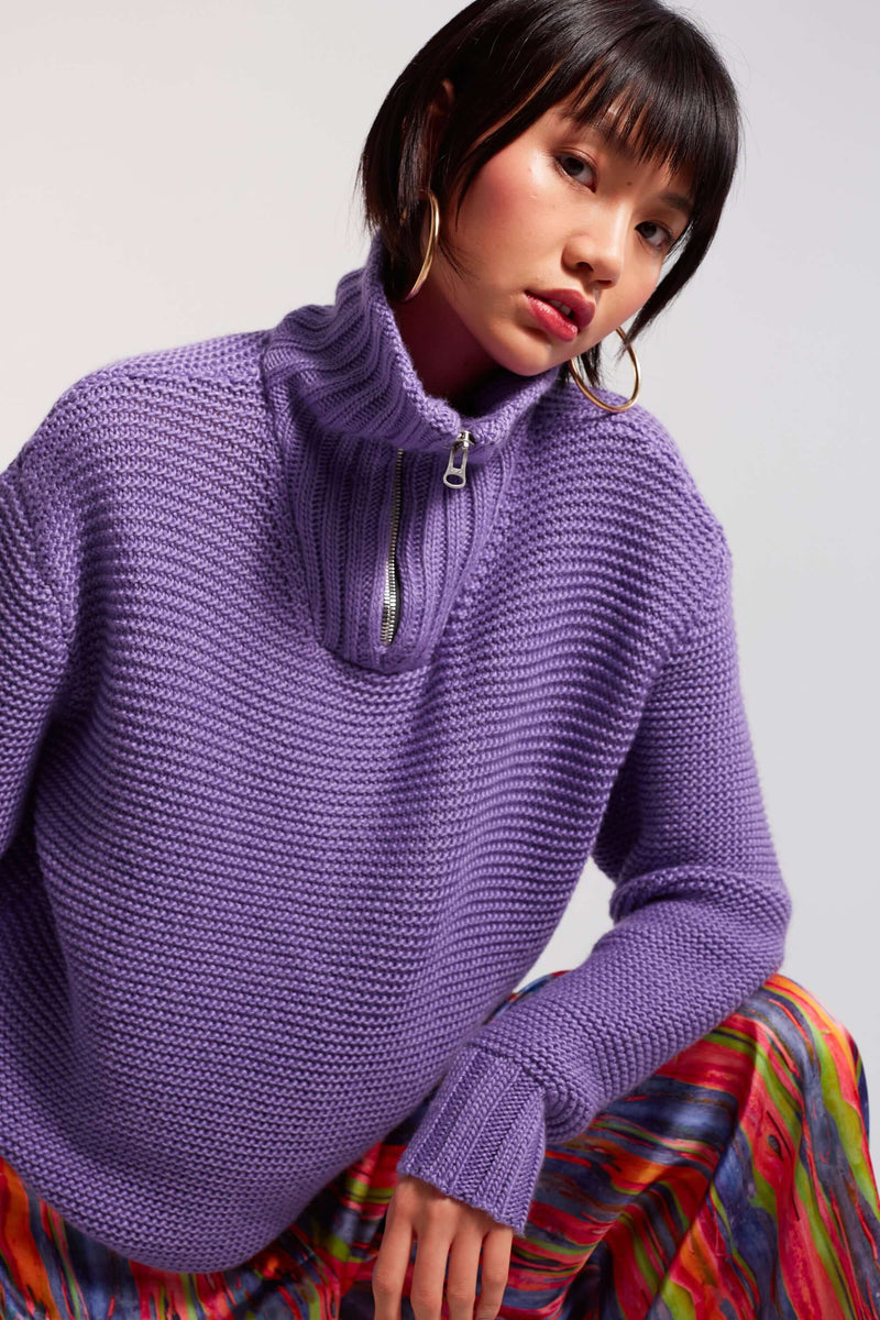 Bobbi sweater in purple knit