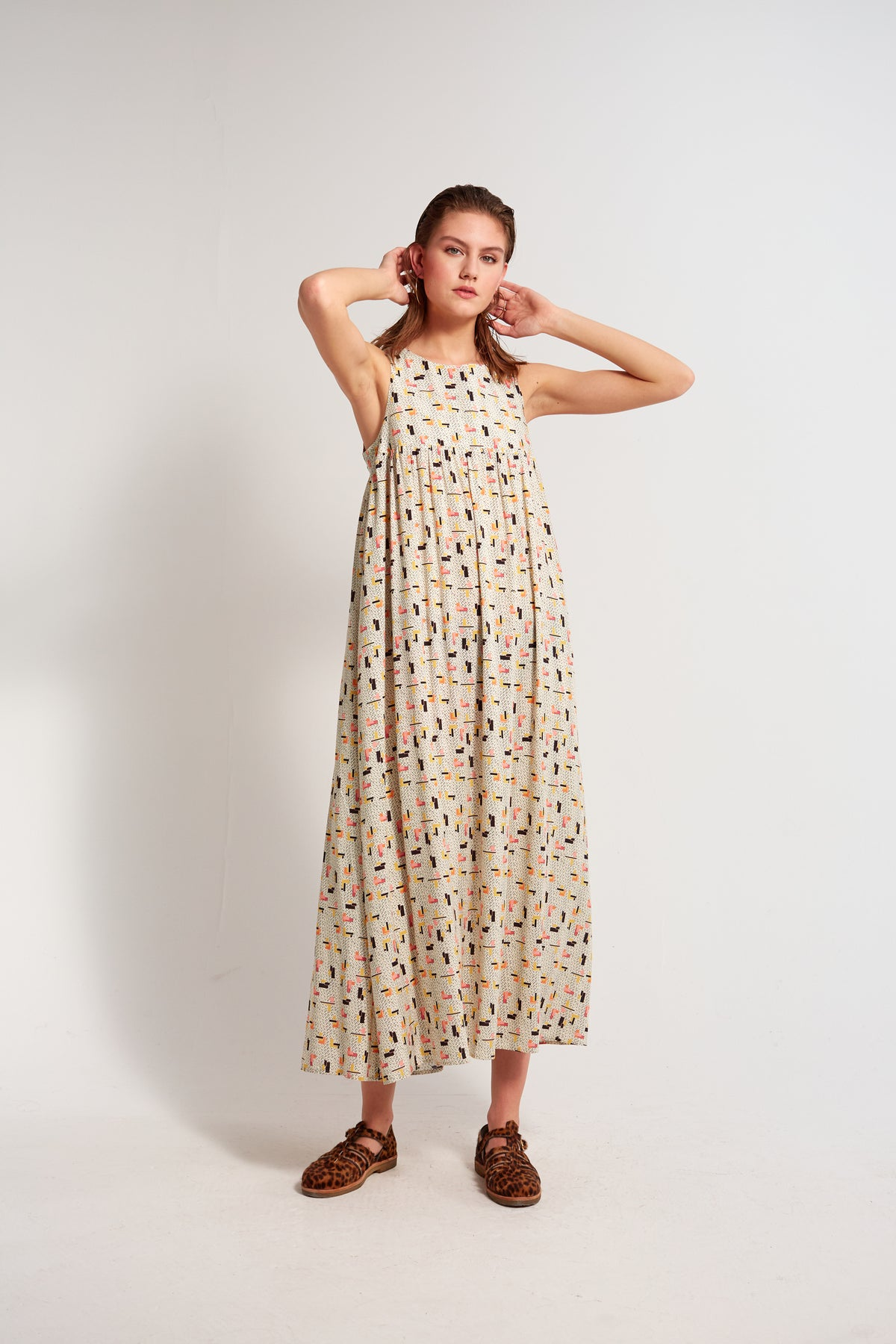 Sperone summer dress in tetris print