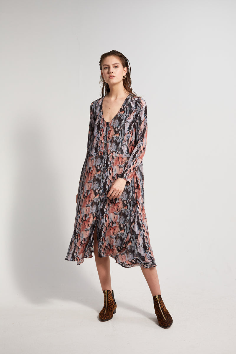 Java dress in Tree Bark print