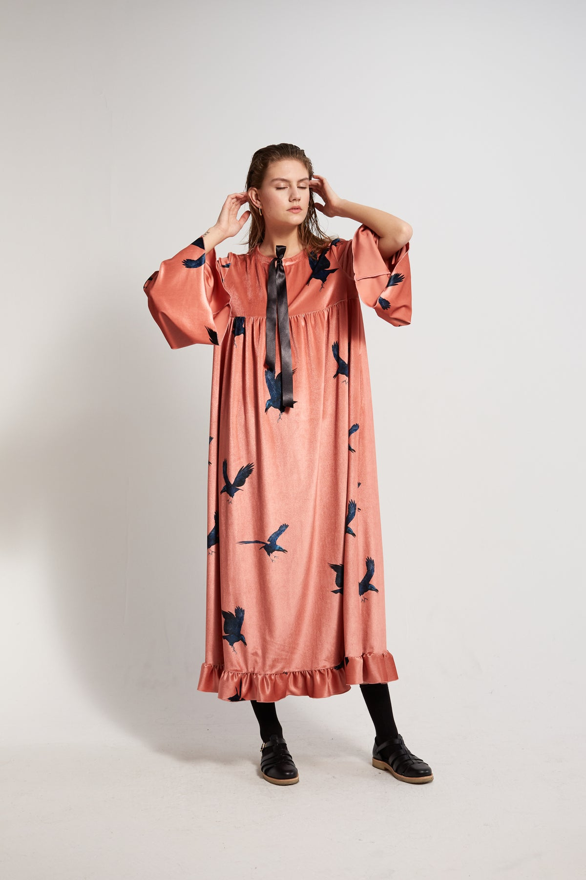 Sperone dress in Ravens printed velvet