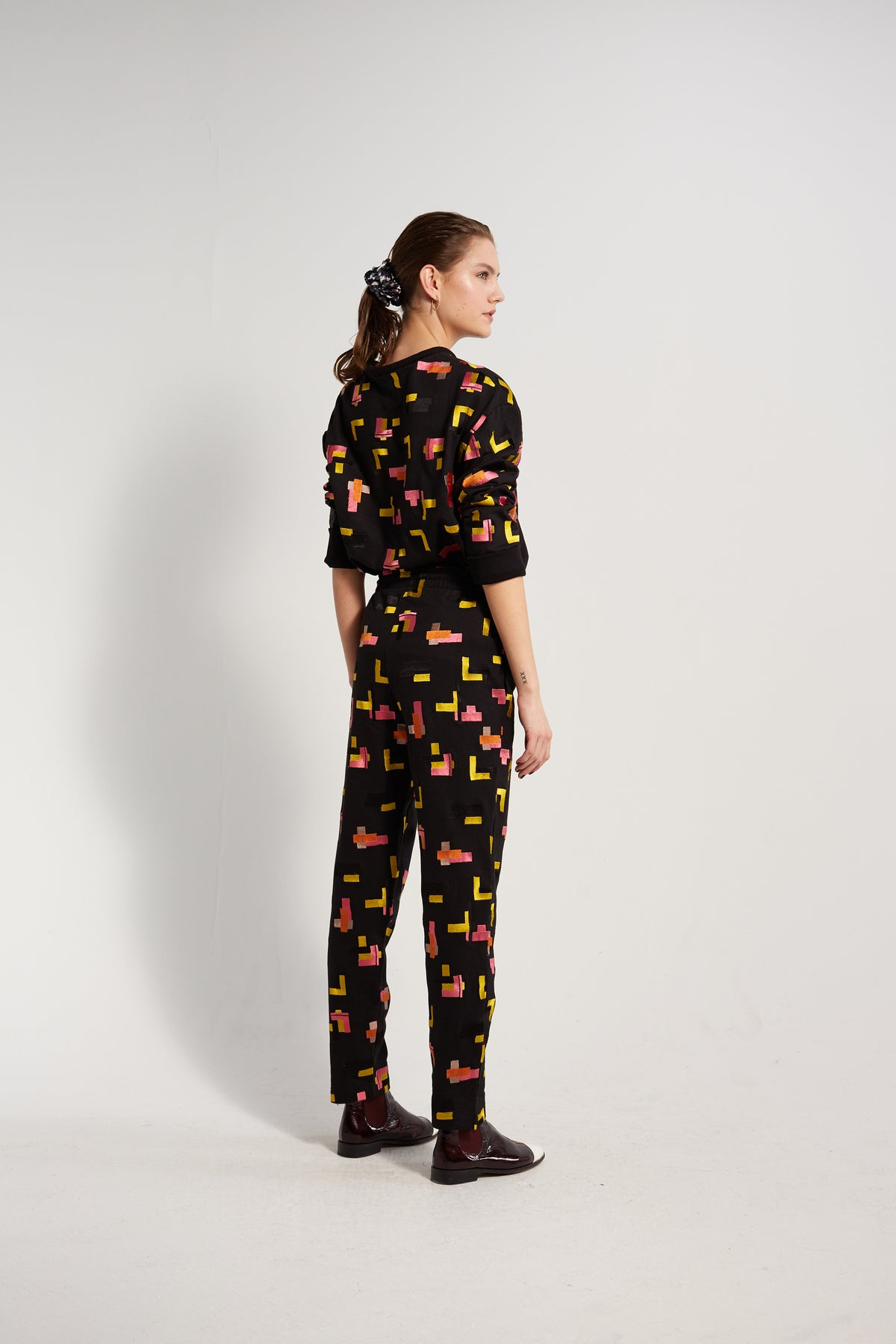 Melchior pants in Tetris embroidered fleece