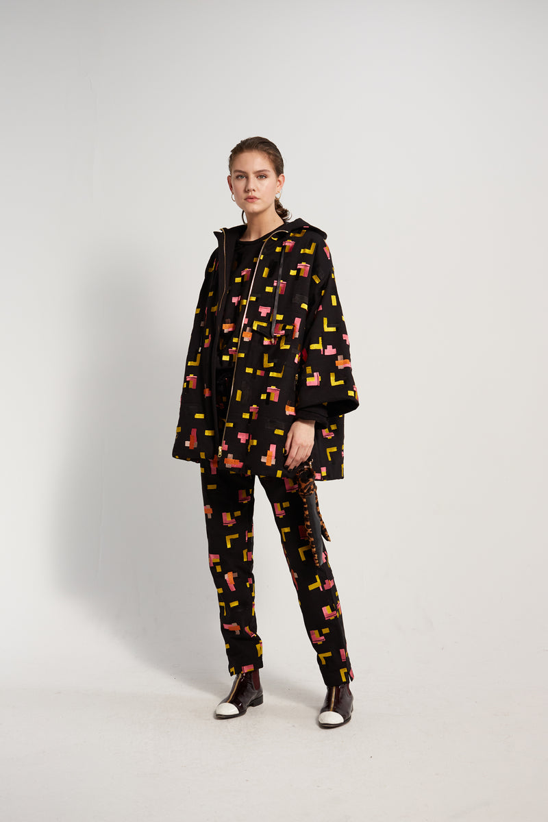 Lolita parka in Tetris embroidered fleece