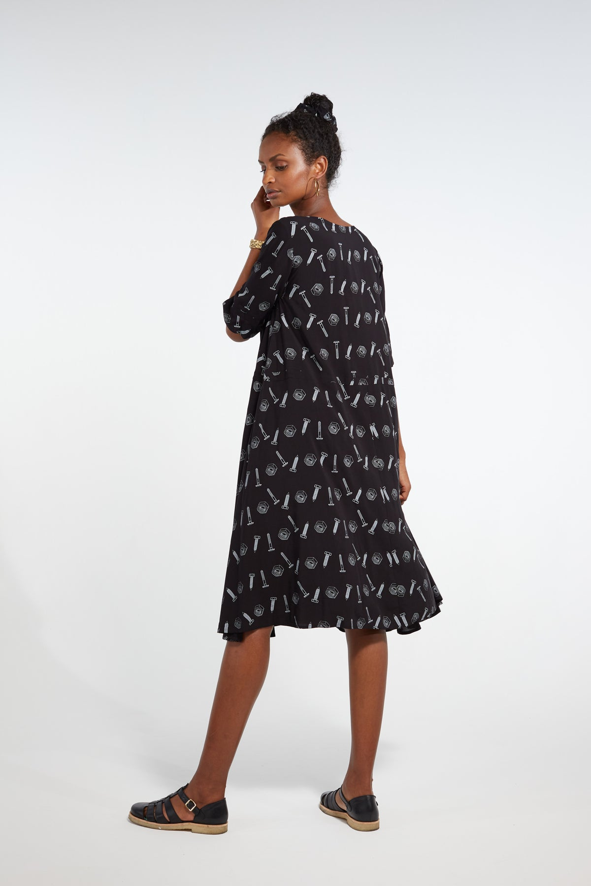 Java dress in black bolts print