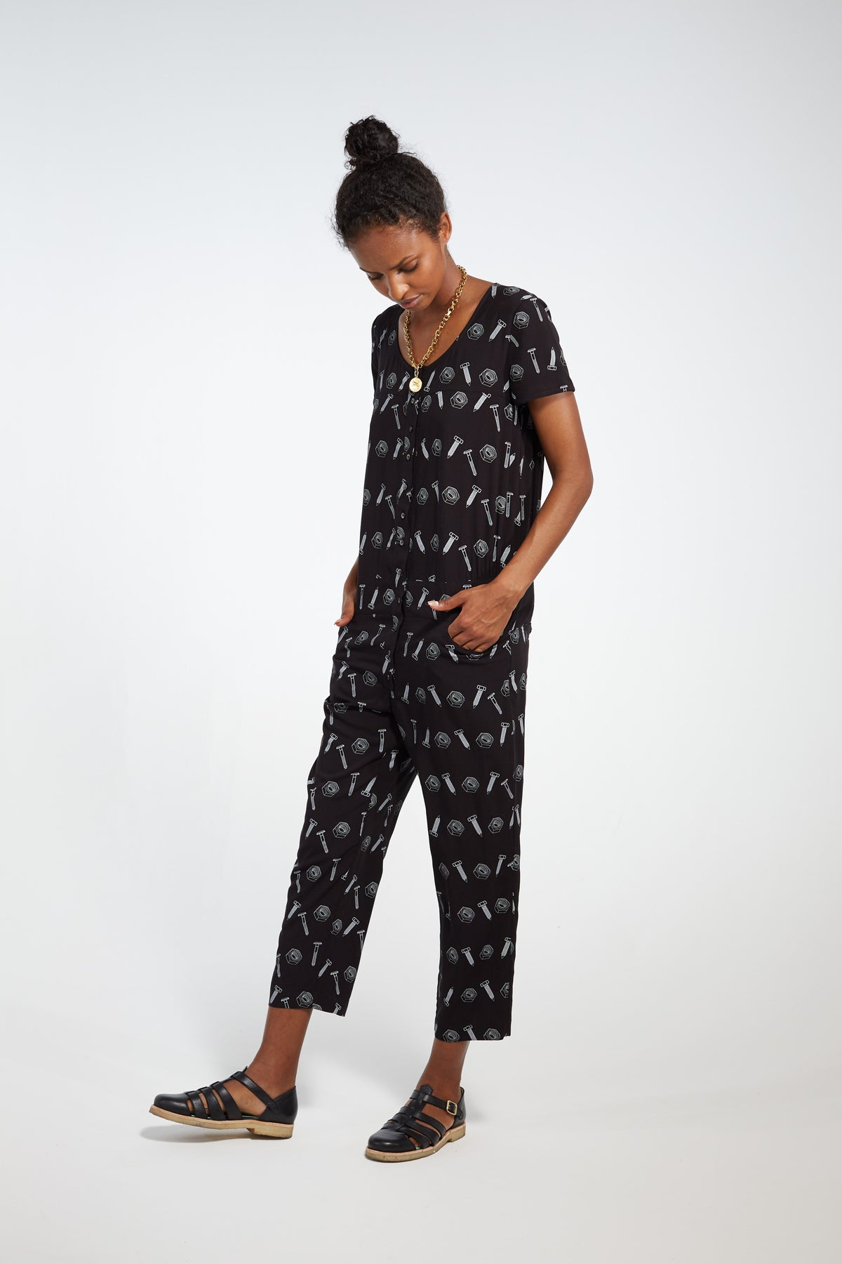 Woods jumpsuit in black bolts print