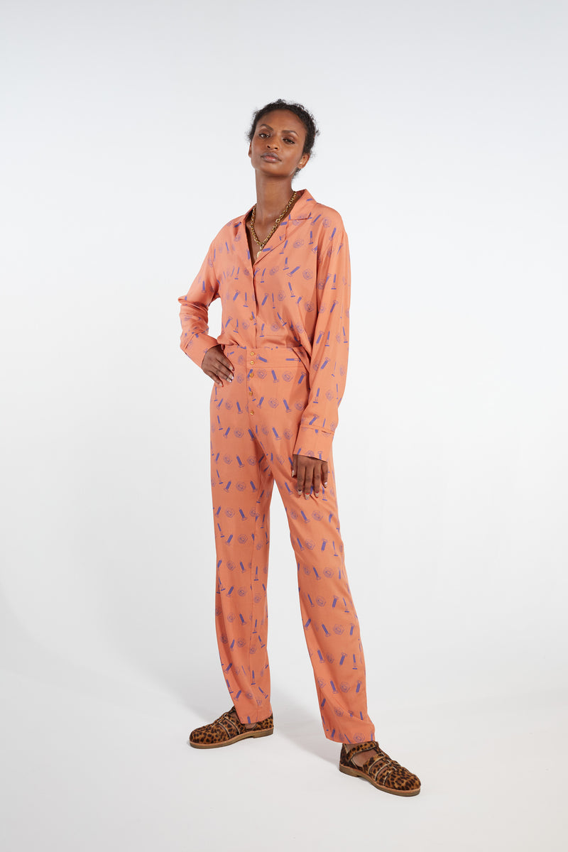 Ulysse pyjama in orange bolts print