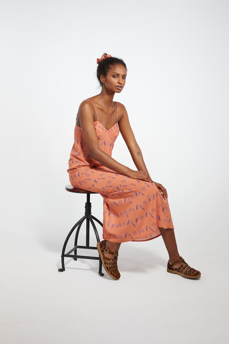 Nelson dress in orange bolts print