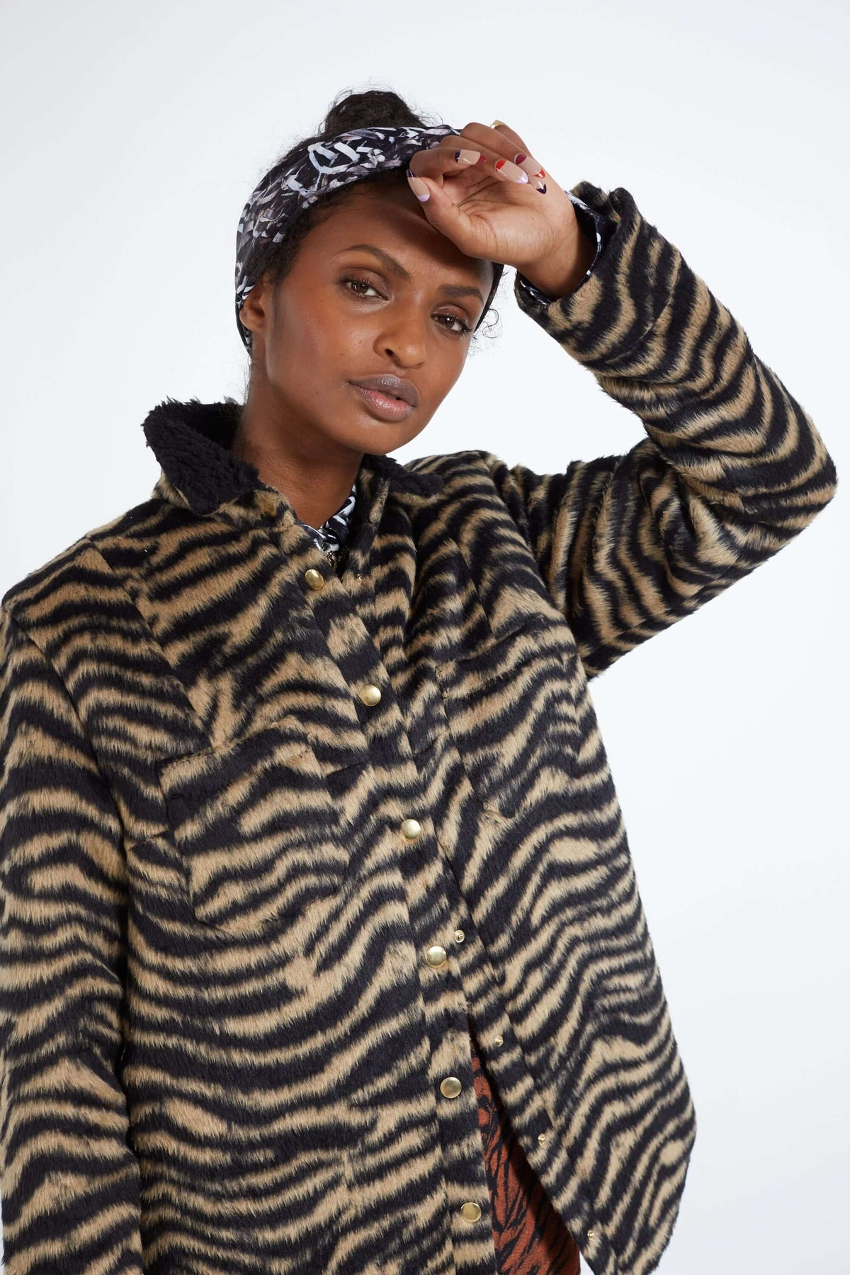Dori overshirt in woolen tiger print