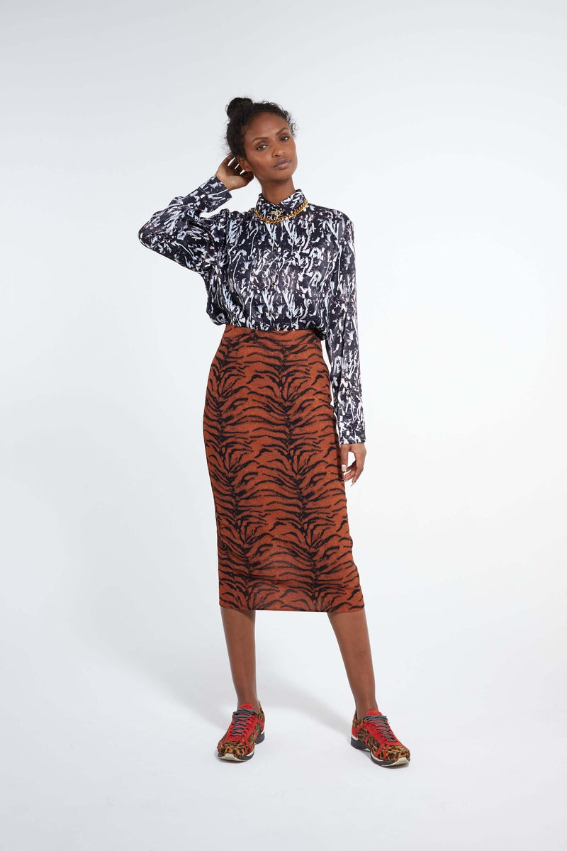 Fox skirt in tiger print