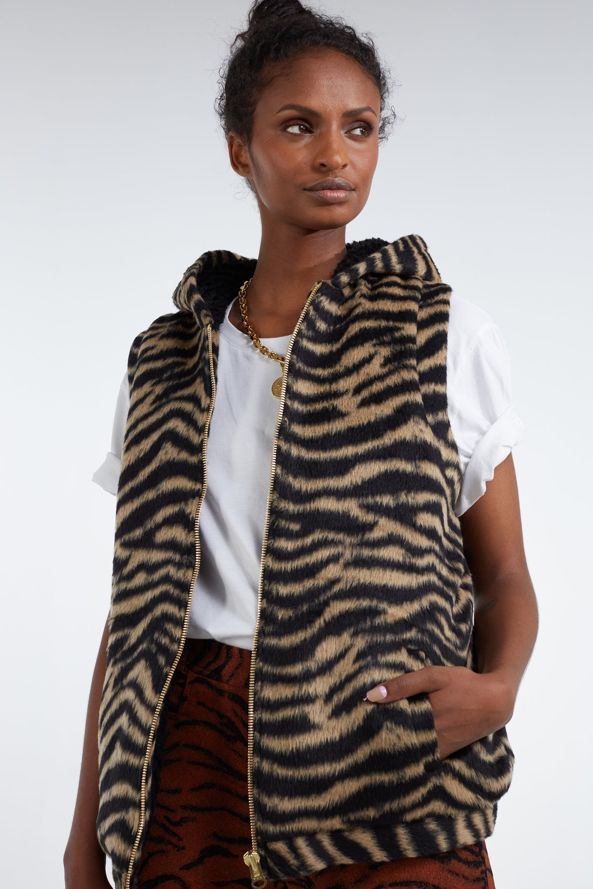 Sweater Joseph in woolen tiger print