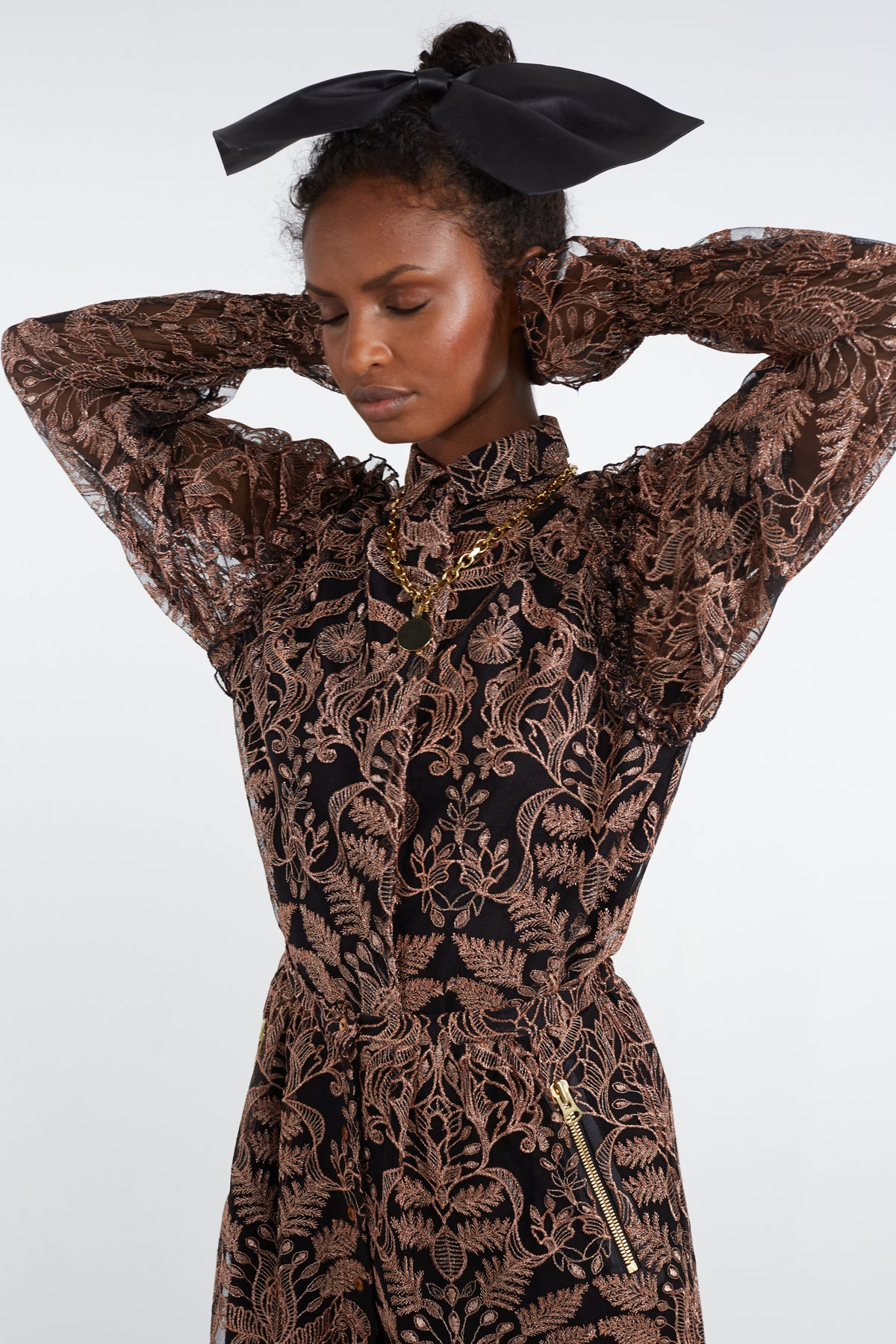 Imogen shirt in copper shiny lace