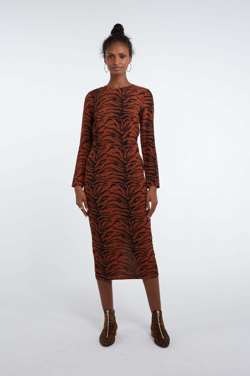 Fox dress in tiger print