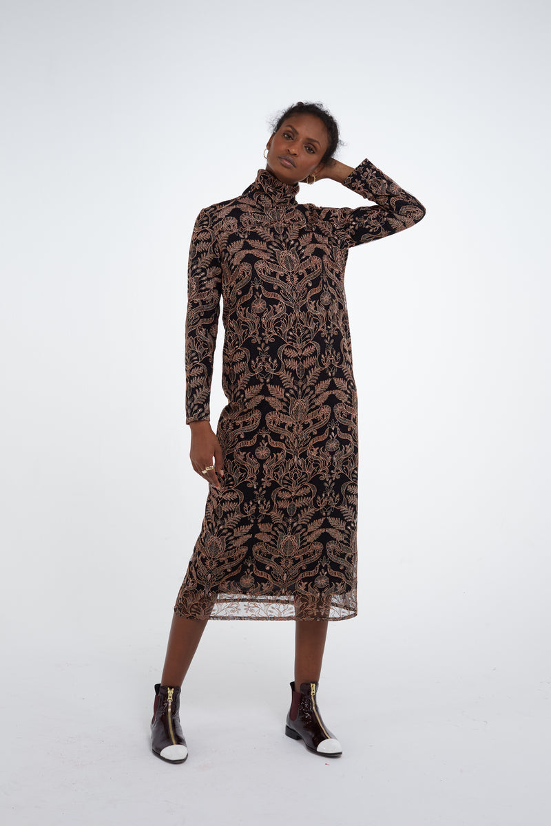 Marshall dress in copper shiny lace