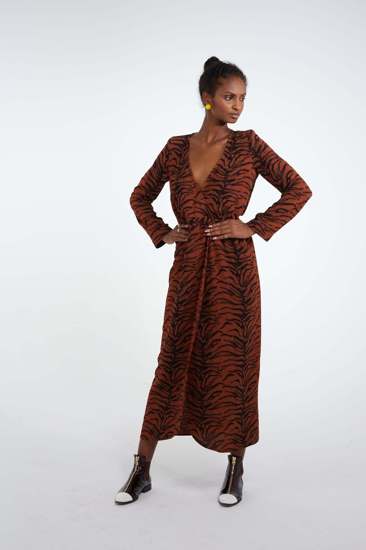 Austria dress in tiger print