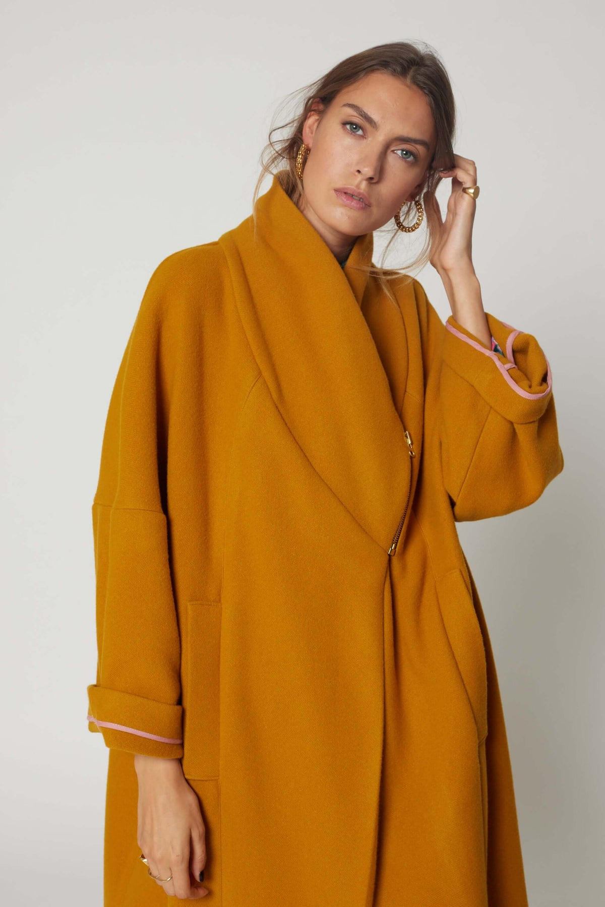 Eren coat in tobacco wool and cashmere
